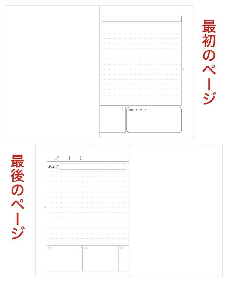 水平開きノート B5サイズ10mm横罫、黒板ノート半端頁