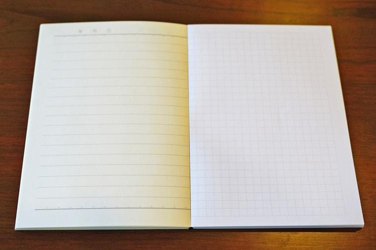 水平開きノート A6サイズ5mm方眼罫50枚、横罫50枚見開き