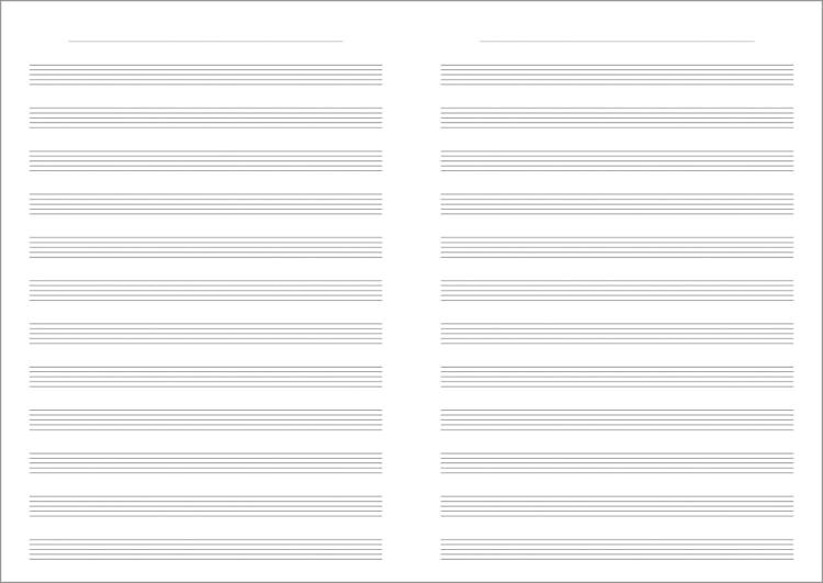 水平開きノート A4サイズ12段5線譜、音楽ノート見開き