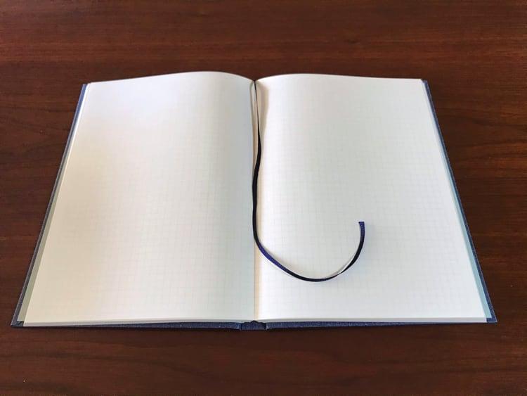 ナカプリバイン プレミアム A5判 5mm方眼 200頁 水平開き(ナカプリバイン)の見開きページ