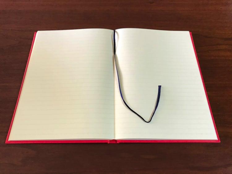 ナカプリバイン プレミアム A5判 7.5mm横罫 200頁 水平開き(ナカプリバイン)の見開きページ